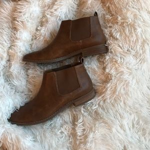 Brown perforated ankle boots